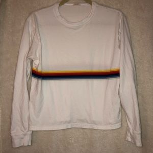 White Rainbow Blocked Long Sleeved Shirt - M
